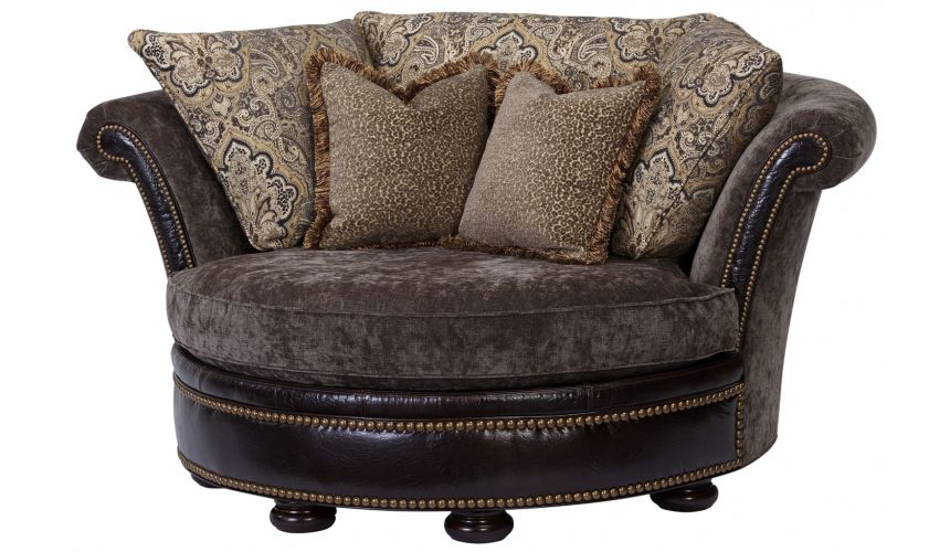 Luxury Leather & Upholstered Furniture Round chaise lounge 2254