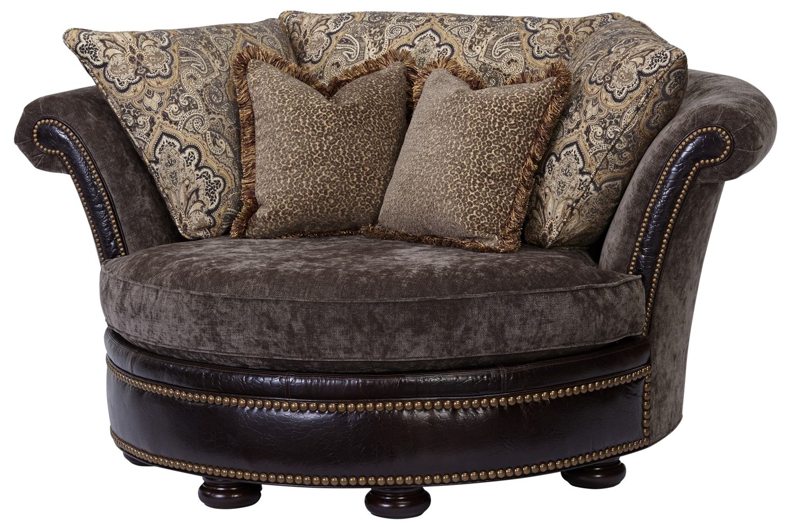 Luxury Leather u0026 Upholstered Furniture Round chaise lounge 2254  sc 1 st  Bernadette Livingston : round chaise lounge - Sectionals, Sofas & Couches