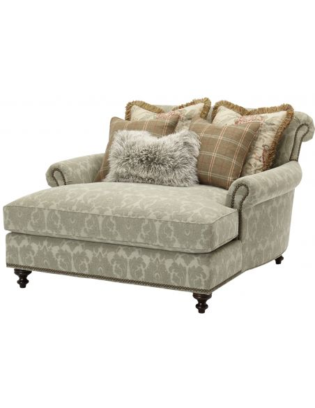 Luxury Leather & Upholstered Furniture Transitional style double chair chaise 2243