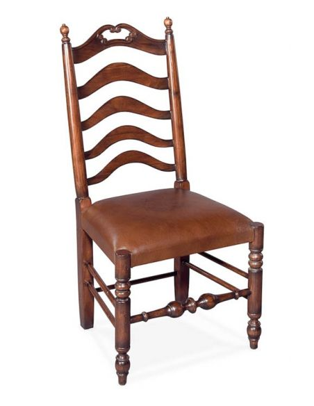 Dining Chairs Ladderback Side Chair Walnut with Leather