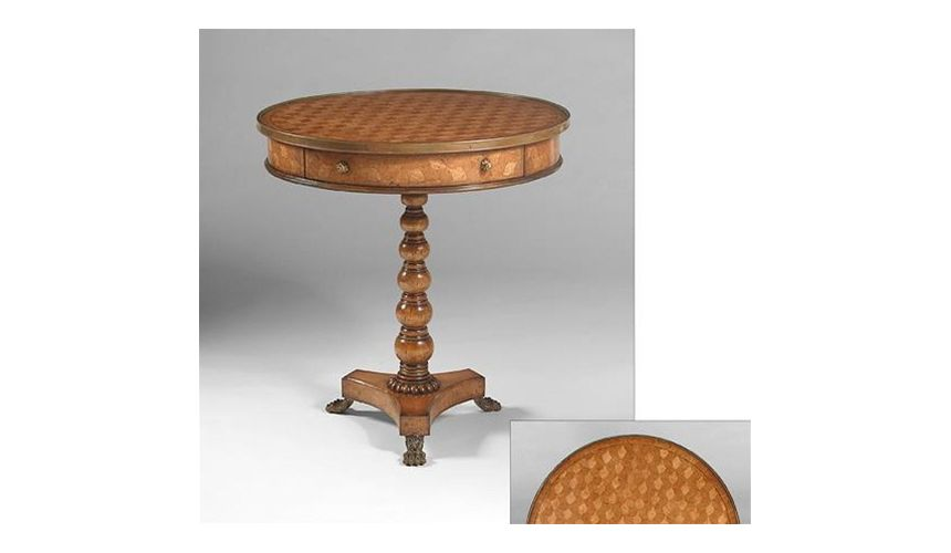 Round & Oval Side Tables Occasional-table-parquetry-w-brass-feet