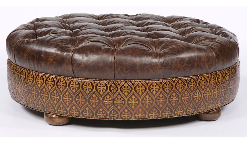Luxury Leather & Upholstered Furniture Large round tufted leather ottoman. American furniture.