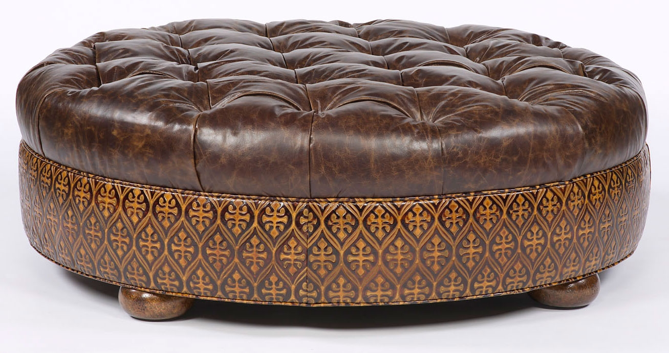 Large Round Tufted Leather Ottoman. American Furniture
