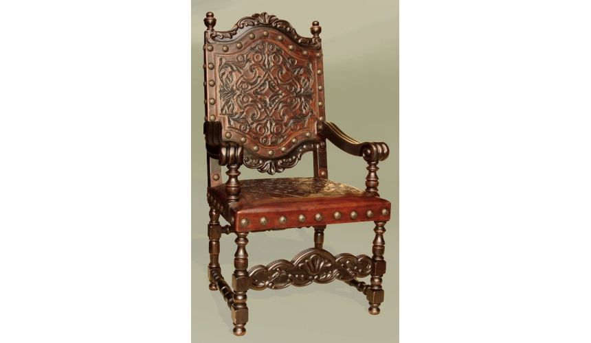 Dining Chairs Rustic Luxury Furniture Renaissance Leather Arm Chair