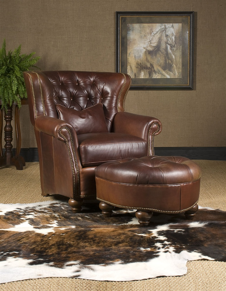 Leather Chair Ottoman High End Furniture