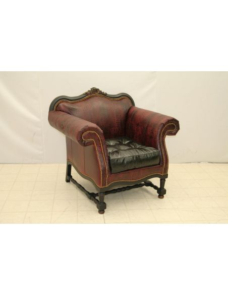 Wood Frame Leather Chair W 615-03