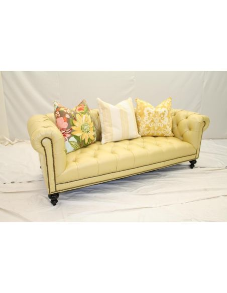 Cream Yellow Leather Chesterfield Sofa 22