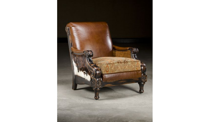 Luxury Leather & Upholstered Furniture Leather Fabric Hair hide Chair. Fine Decor
