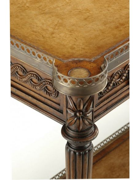 Console & Sofa Tables Leather inlay console table. Luxury furniture