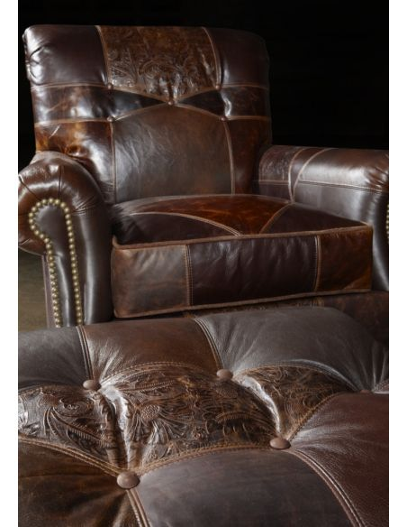 Luxury Leather & Upholstered Furniture 1 Leather patches chair and ottoman, Great looking and great price