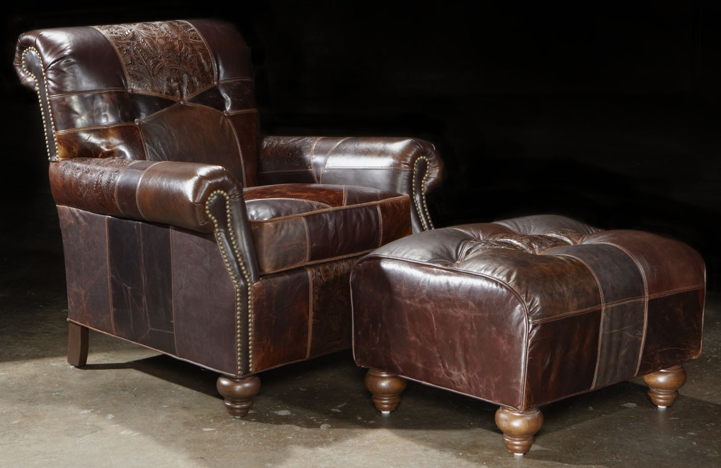 High Quality Luxury Leather U0026 Upholstered Furniture 1 Leather Patches Chair And Ottoman,  Great Looking And Great