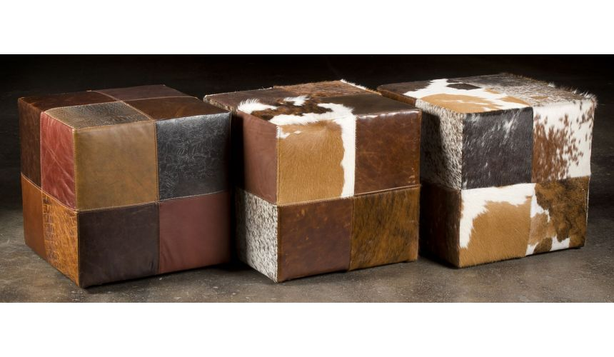 Luxury Leather & Upholstered Furniture Leather patches cube ottoman. 213