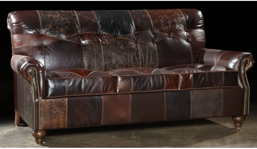 1 Leather patches sofa, USA made, Great looking and great price