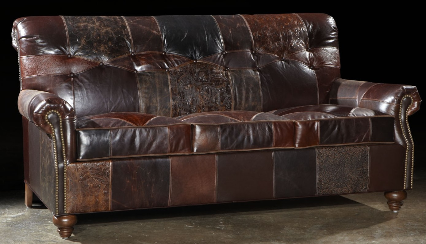 Leather Patches Sofa Usa Made Great Looking And Great Price