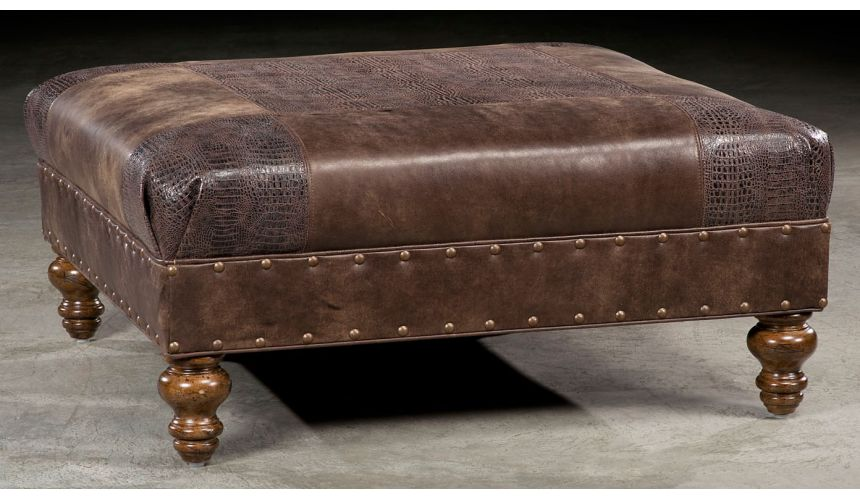 Luxury Leather & Upholstered Furniture Leather quare ottoman. 823