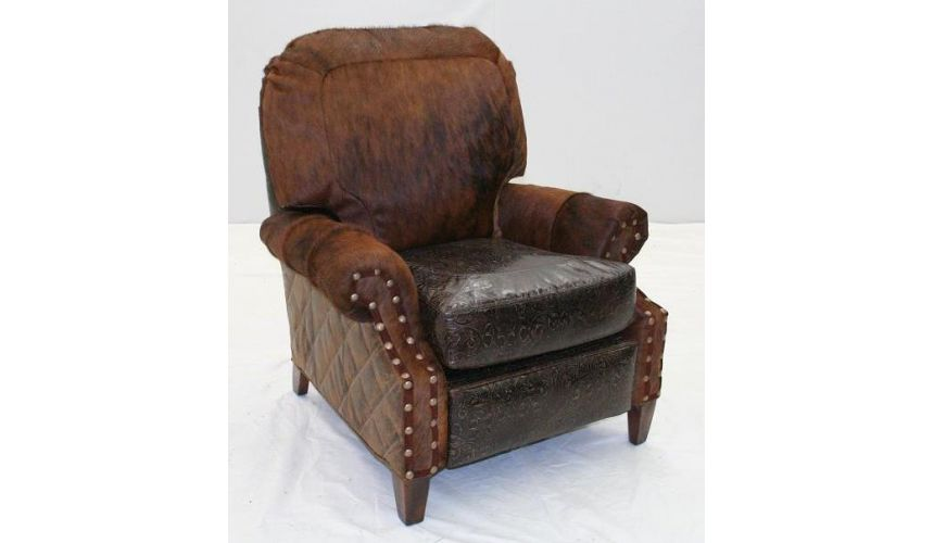 MOTION SEATING - Recliners, Swivels, Rockers Leather and Hair Hide Recliner Chair 960R-03