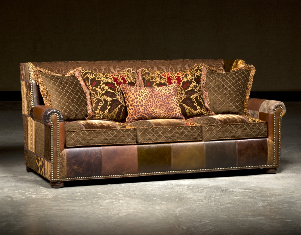 SOFA, COUCH U0026 LOVESEAT Leather Sofa In Patches, High End Furnishings