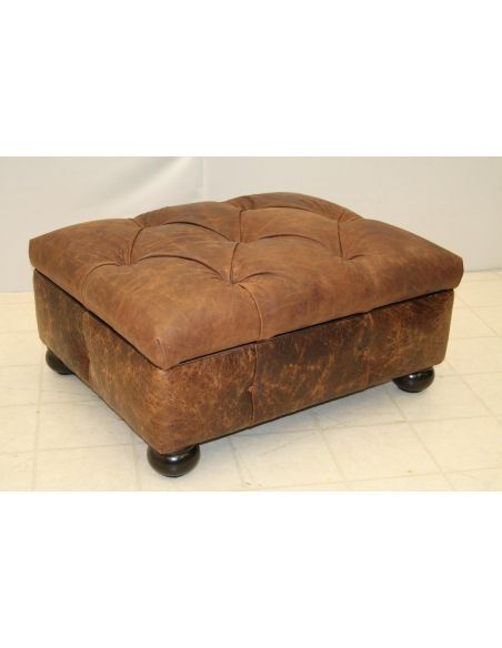 Luxury Leather & Upholstered Furniture Leather Storage Ottoman 85-02