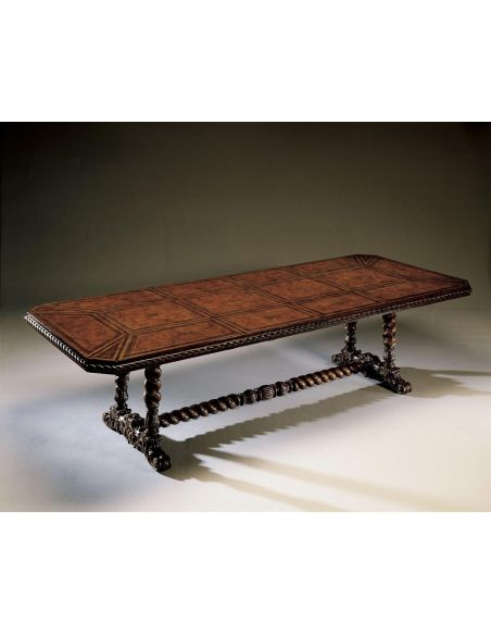 Dining Tables Leather top dining table. Spanish style furniture. 4530-001