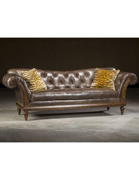 Luxury Leather & Upholstered Furniture Leather Tufted Carved Sofa. Stylish Decor
