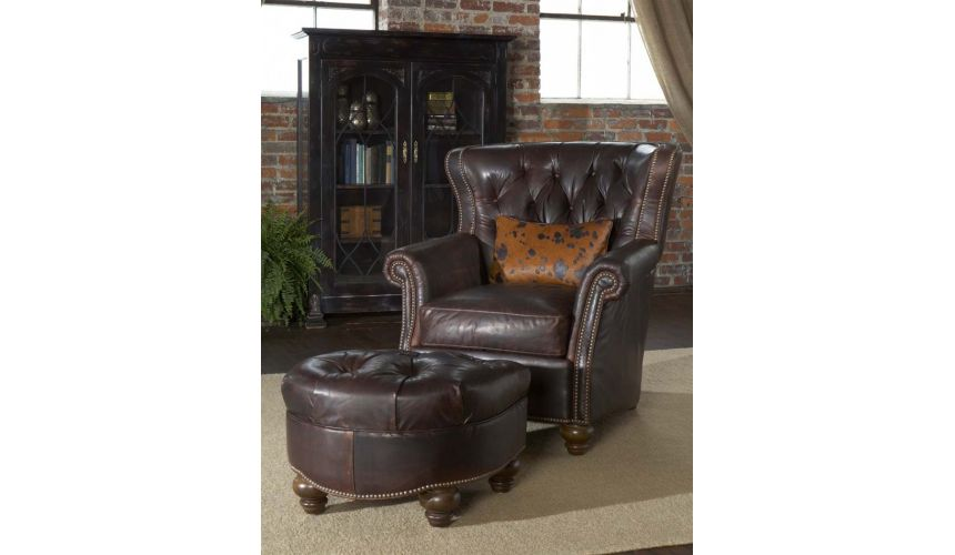 Luxury Leather & Upholstered Furniture Leather-tufted-library-chair