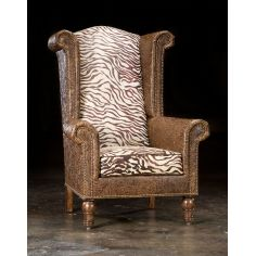 Leather and Zebra High back Chair