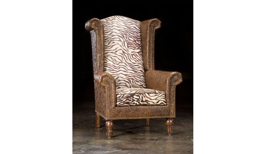 Luxury Leather & Upholstered Furniture Leather and Zebra High back Chair