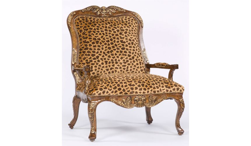 Luxury Leather & Upholstered Furniture Leopard Louie accent chair. 90