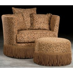 Leopard Print Swivel Barrel Chair With Ottoman.