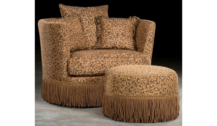 Luxury Leather & Upholstered Furniture Leopard Print Swivel Barrel Chair With Ottoman.