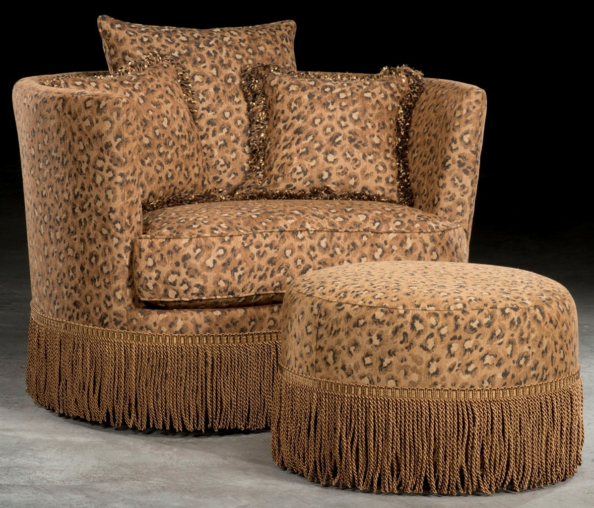 Leopard Print Swivel Barrel Chair With Ottoman. on leopard print living room furniture, leopard chair, beauty furniture home, paisley furniture home, leopard reclining sofa, leopard print furniture and accessories, zebra furniture home, leopard print retro furniture, animal print for the home, beach furniture home,