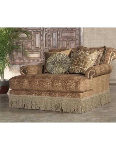 Luxury Leather & Upholstered Furniture Leopard Print Chaise