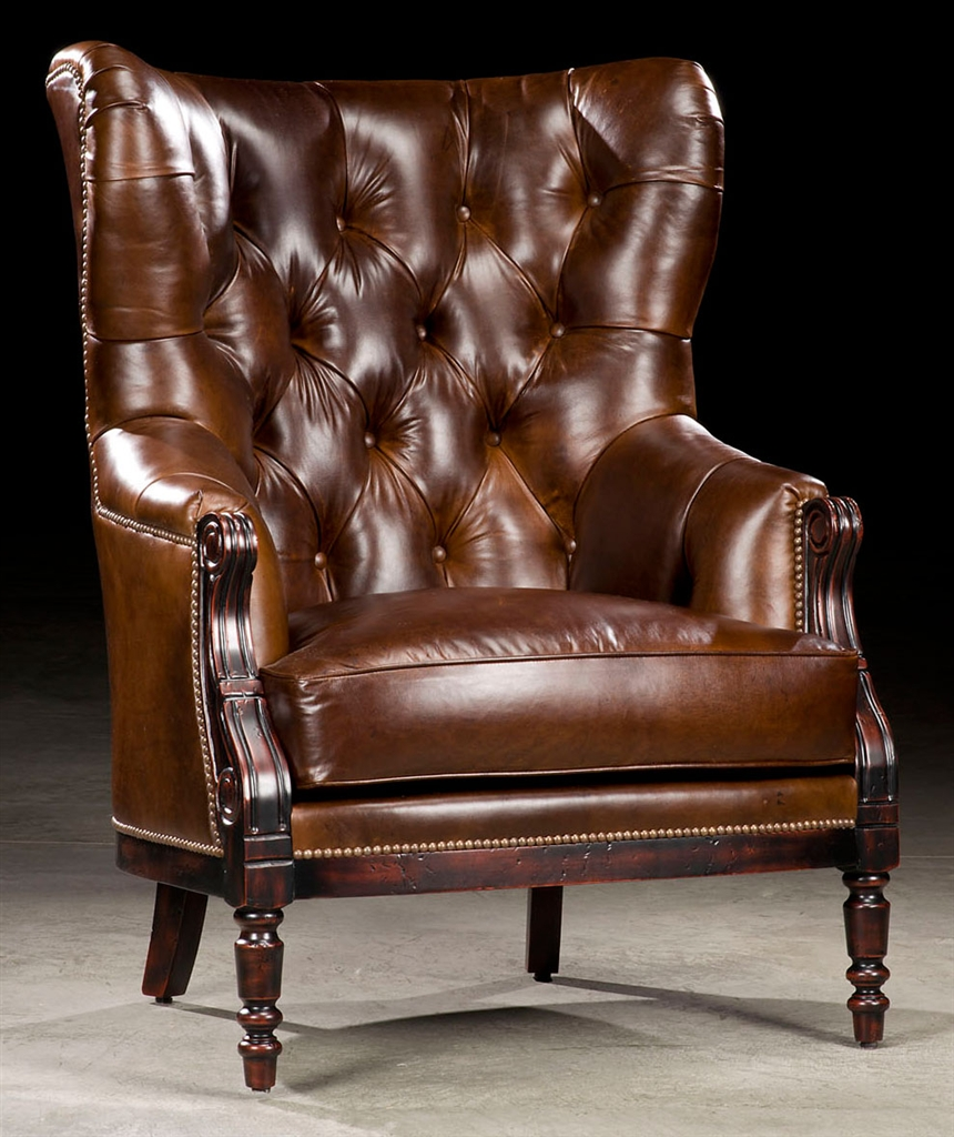 Luxury Leather U0026 Upholstered Furniture Library Chair, Leather Tufted High  Back.
