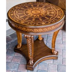 Fine marquetry work on this round side table