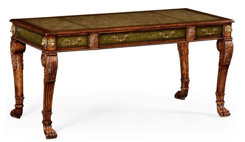 Executive Desks Lions paw carved walnut writing table, Desk.