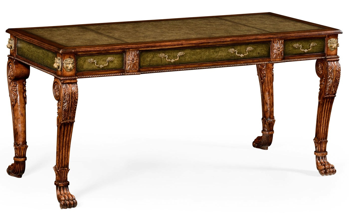 Executive Desks Lions Paw Carved Walnut Writing Table Desk