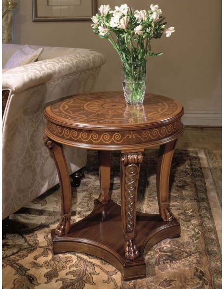 Furniture Masterpieces Fine marquetry work on this round side table