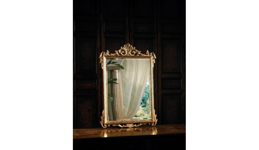 LM0172 labarge mirrors Rectangular mirror with carved shell in antique gold
