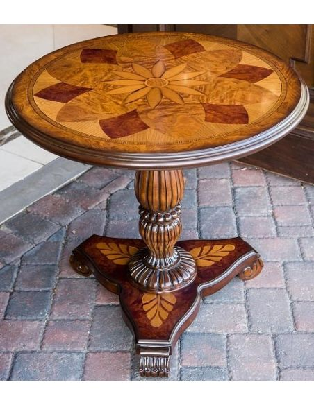 Patterned Round Pedestal Table