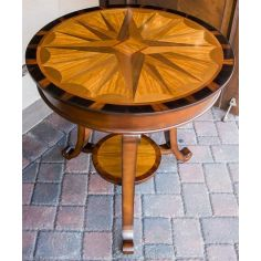 Carved Inlay Round Pedestal Table