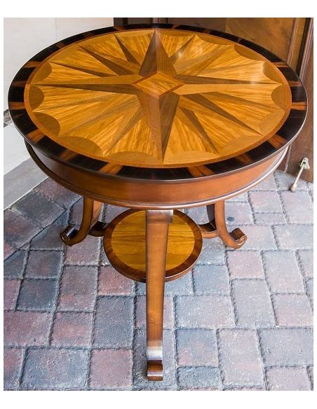 Round & Oval Side Tables Carved Inlay Round Pedestal Table