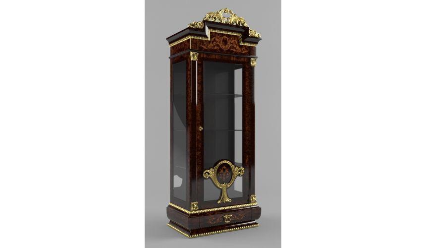 Breakfronts & China Cabinets Elegant Single Door Glass Cupboard