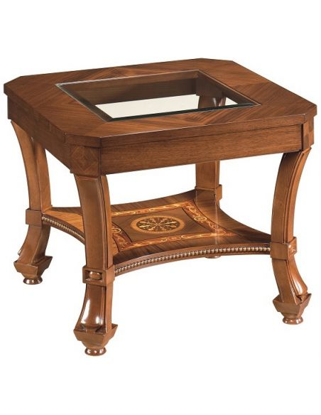 Square & Rectangular Side Tables End Table with Glass Top