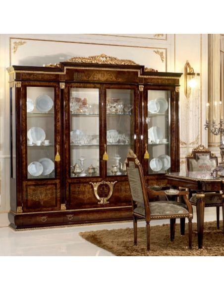 Breakfronts & China Cabinets 4 Door Glass Cupboard for Dining Room