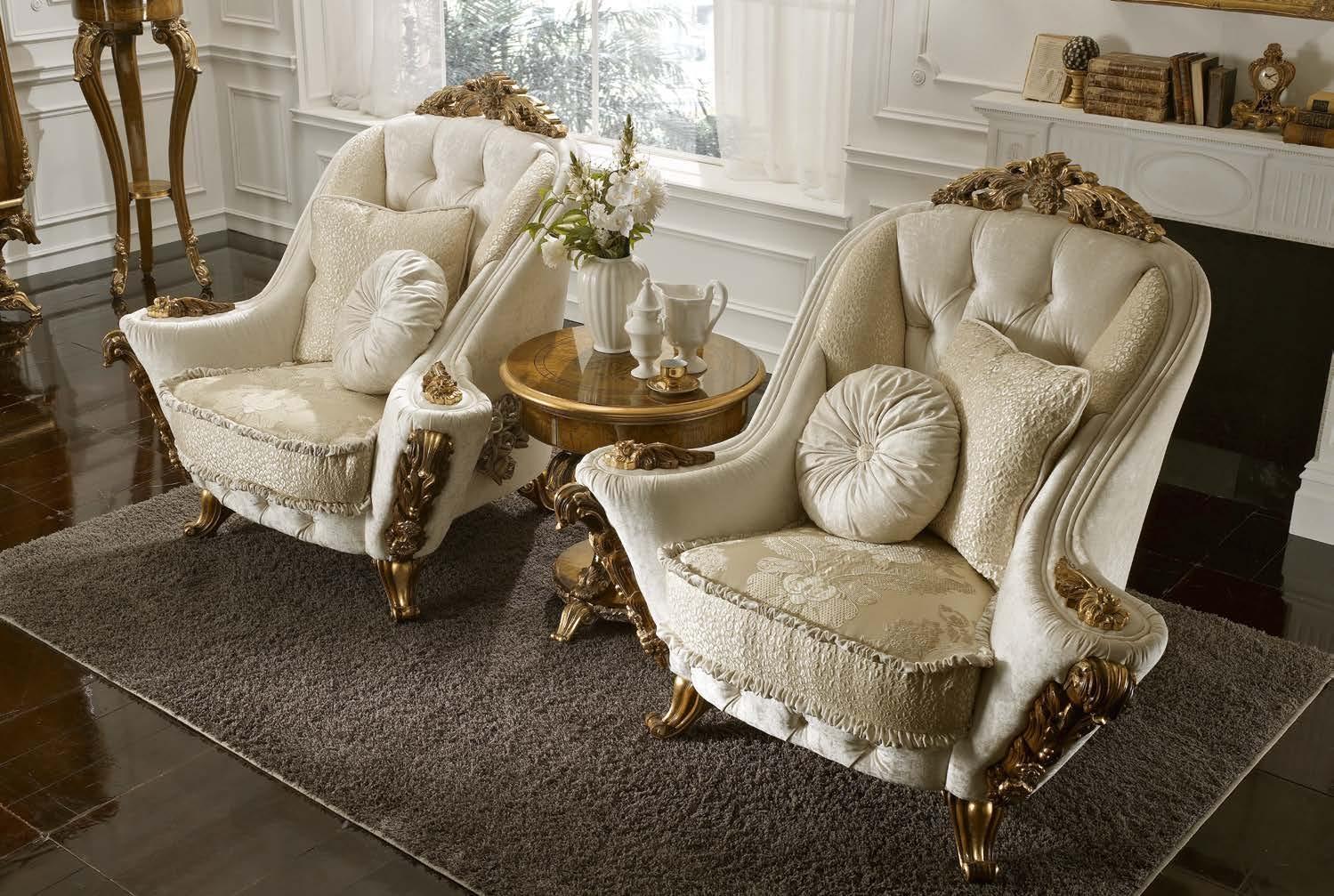 White Upholstered Armchair for Living Room
