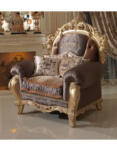 Furniture Masterpieces Charming Armchair with Embroidered Headrest