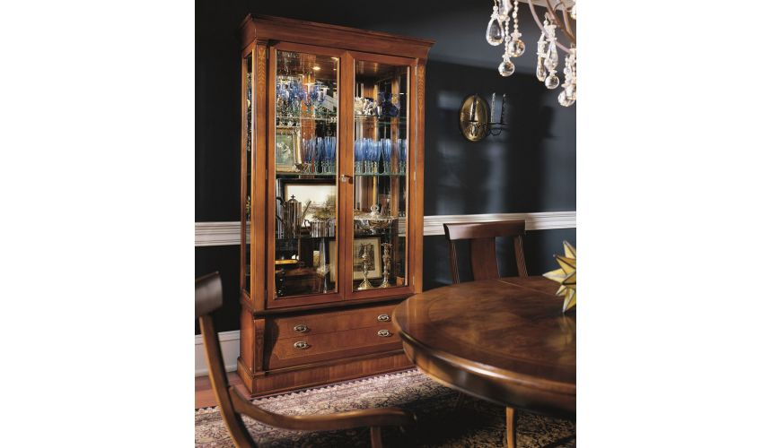 Breakfronts & China Cabinets Glass Cabinet with Storage Drawers