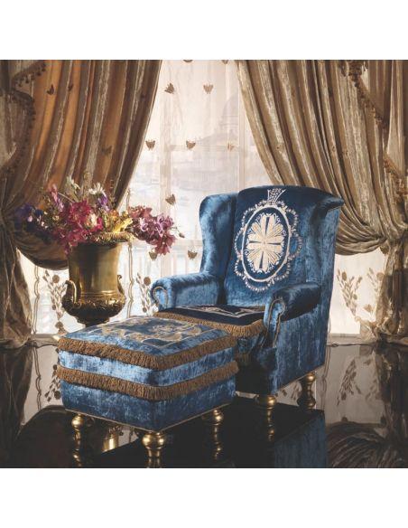 Furniture Masterpieces Aqua Italian Style Arm Chair