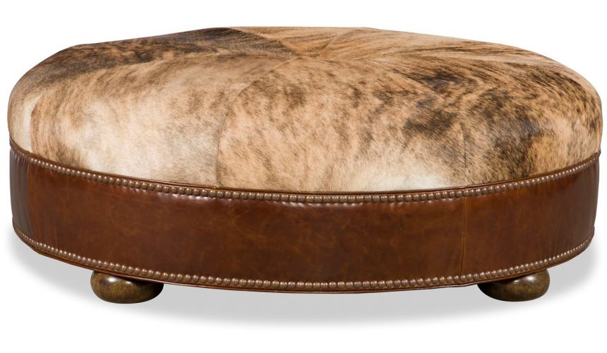 Luxury Leather & Upholstered Furniture Round Ottoman Stool Leather & Fabric Upholstered
