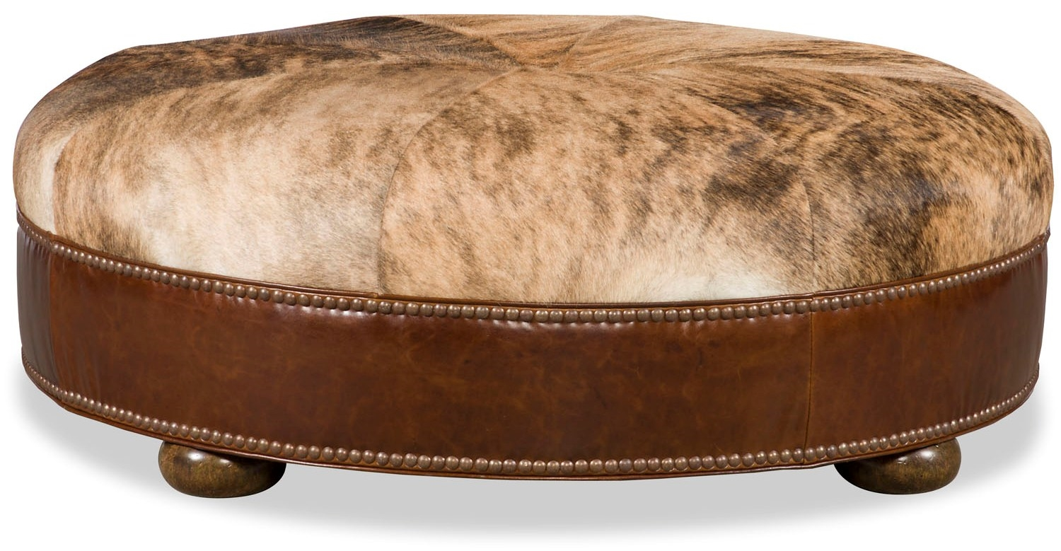 Round Ottoman Stool Leather Amp Fabric Upholstered
